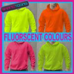 FLUORESCENT NEON YELLOW GREEN PINK & ORANGE ADULTS HOODIE   ADULT SIZES